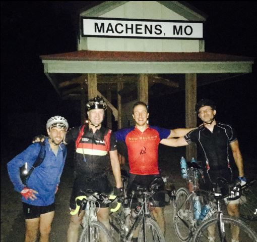 One-day Katy Trail: Zach Pashea, Tom Lucido, Matt Hagenhoff and Jason Johannpeter at Machens